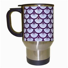 Scales3 White Marble & Purple Leather (r)scales3 White Marble & Purple Leather (r) Travel Mugs (white) by trendistuff