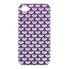 Scales3 White Marble & Purple Leather (r)scales3 White Marble & Purple Leather (r) Apple Iphone 4/4s Hardshell Case by trendistuff
