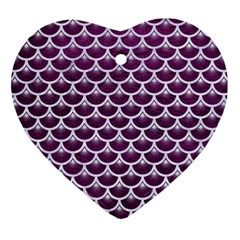 Scales3 White Marble & Purple Leather Heart Ornament (two Sides) by trendistuff