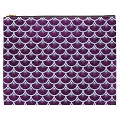 Scales3 White Marble & Purple Leather Cosmetic Bag (xxxl)  by trendistuff