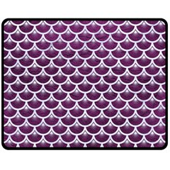 Scales3 White Marble & Purple Leather Double Sided Fleece Blanket (medium)  by trendistuff
