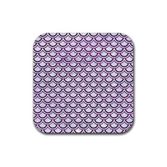 Scales2 White Marble & Purple Leather (r) Rubber Coaster (square)  by trendistuff