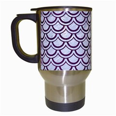 Scales2 White Marble & Purple Leather (r) Travel Mugs (white) by trendistuff