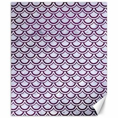 Scales2 White Marble & Purple Leather (r) Canvas 8  X 10  by trendistuff