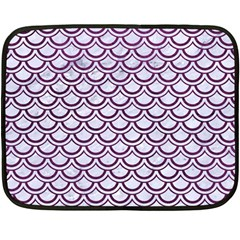 Scales2 White Marble & Purple Leather (r) Double Sided Fleece Blanket (mini)  by trendistuff