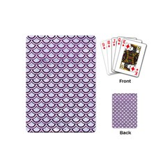 Scales2 White Marble & Purple Leather (r) Playing Cards (mini)  by trendistuff