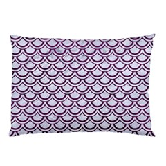 Scales2 White Marble & Purple Leather (r) Pillow Case (two Sides) by trendistuff