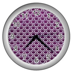 Scales2 White Marble & Purple Leather Wall Clocks (silver)  by trendistuff