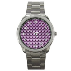 Scales2 White Marble & Purple Leather Sport Metal Watch by trendistuff