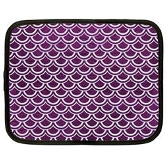 Scales2 White Marble & Purple Leather Netbook Case (xxl)  by trendistuff