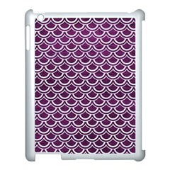 Scales2 White Marble & Purple Leather Apple Ipad 3/4 Case (white) by trendistuff