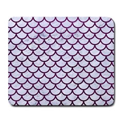 Scales1 White Marble & Purple Leather (r) Large Mousepads by trendistuff