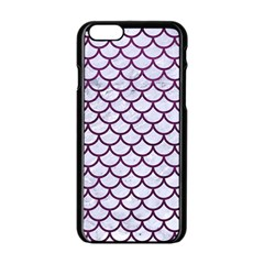Scales1 White Marble & Purple Leather (r) Apple Iphone 6/6s Black Enamel Case by trendistuff