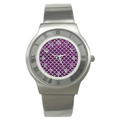 Scales1 White Marble & Purple Leather Stainless Steel Watch by trendistuff