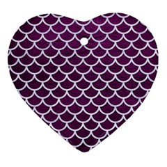 Scales1 White Marble & Purple Leather Heart Ornament (two Sides)