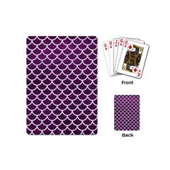 Scales1 White Marble & Purple Leather Playing Cards (mini)  by trendistuff