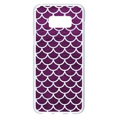 Scales1 White Marble & Purple Leather Samsung Galaxy S8 Plus White Seamless Case by trendistuff