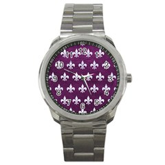 Royal1 White Marble & Purple Leather (r) Sport Metal Watch by trendistuff