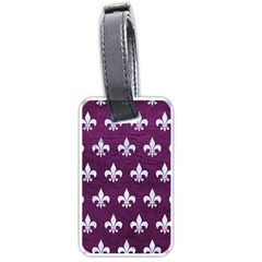 Royal1 White Marble & Purple Leather (r) Luggage Tags (one Side)  by trendistuff