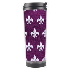 Royal1 White Marble & Purple Leather (r) Travel Tumbler by trendistuff