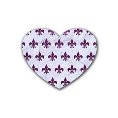Royal1 White Marble & Purple Leather Rubber Coaster (heart)  by trendistuff