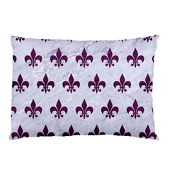 Royal1 White Marble & Purple Leather Pillow Case