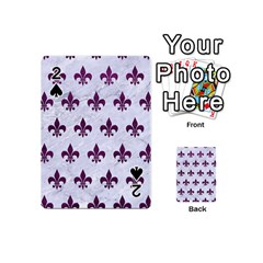 Royal1 White Marble & Purple Leather Playing Cards 54 (mini)  by trendistuff
