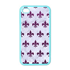 Royal1 White Marble & Purple Leather Apple Iphone 4 Case (color) by trendistuff