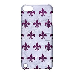 Royal1 White Marble & Purple Leather Apple Ipod Touch 5 Hardshell Case With Stand by trendistuff