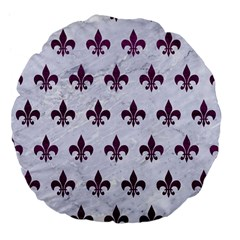 Royal1 White Marble & Purple Leather Large 18  Premium Flano Round Cushions by trendistuff