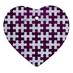 Puzzle1 White Marble & Purple Leather Ornament (heart) by trendistuff