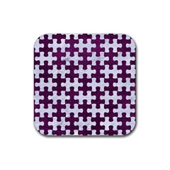 Puzzle1 White Marble & Purple Leather Rubber Coaster (square)