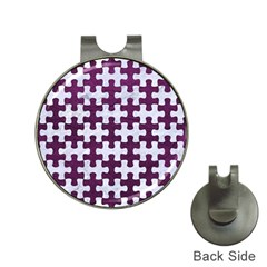 Puzzle1 White Marble & Purple Leather Hat Clips With Golf Markers by trendistuff