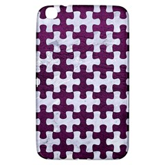 Puzzle1 White Marble & Purple Leather Samsung Galaxy Tab 3 (8 ) T3100 Hardshell Case  by trendistuff