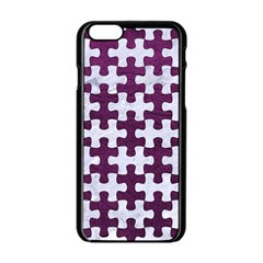 Puzzle1 White Marble & Purple Leather Apple Iphone 6/6s Black Enamel Case by trendistuff