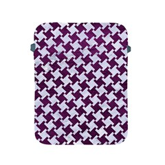 Houndstooth2 White Marble & Purple Leather Apple Ipad 2/3/4 Protective Soft Cases by trendistuff