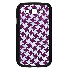 Houndstooth2 White Marble & Purple Leather Samsung Galaxy Grand Duos I9082 Case (black) by trendistuff