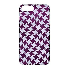 Houndstooth2 White Marble & Purple Leather Apple Iphone 8 Plus Hardshell Case by trendistuff