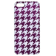 Houndstooth1 White Marble & Purple Leather Apple Iphone 5 Hardshell Case With Stand by trendistuff