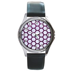 Hexagon2 White Marble & Purple Leather (r) Round Metal Watch by trendistuff