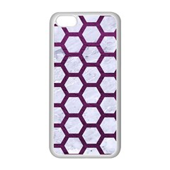 Hexagon2 White Marble & Purple Leather (r) Apple Iphone 5c Seamless Case (white) by trendistuff