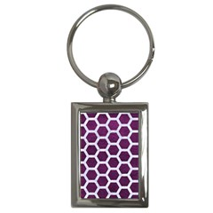Hexagon2 White Marble & Purple Leather Key Chains (rectangle)  by trendistuff