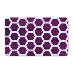 Hexagon2 White Marble & Purple Leather Magnet (rectangular) by trendistuff