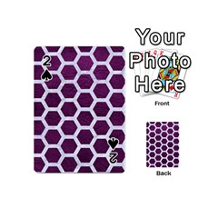 Hexagon2 White Marble & Purple Leather Playing Cards 54 (mini)  by trendistuff