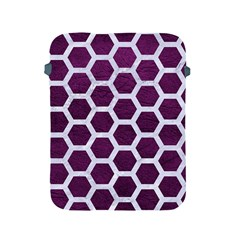 Hexagon2 White Marble & Purple Leather Apple Ipad 2/3/4 Protective Soft Cases by trendistuff