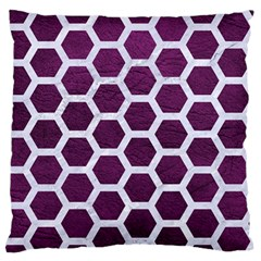 Hexagon2 White Marble & Purple Leather Standard Flano Cushion Case (one Side) by trendistuff