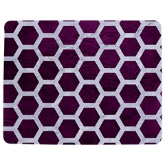 Hexagon2 White Marble & Purple Leather Jigsaw Puzzle Photo Stand (rectangular) by trendistuff