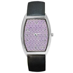 Hexagon1 White Marble & Purple Leather (r) Barrel Style Metal Watch by trendistuff