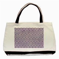 Hexagon1 White Marble & Purple Leather (r) Basic Tote Bag by trendistuff