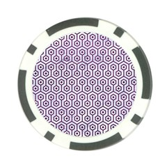 Hexagon1 White Marble & Purple Leather (r) Poker Chip Card Guard (10 Pack) by trendistuff